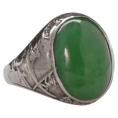 Jade Ring Antique Certified Untreated in Hand Carved Vignette Setting