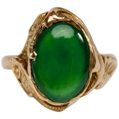 Jade Ring Art Nouveau Certified Untreated Burmese Jadeite Lush Emerald Green