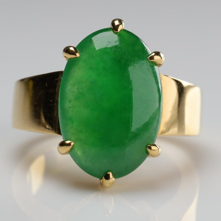 This magnificent and impossibly rare jade and 22K gold ring is so extraordinary, it's been photographed and written about in both the December 5th, 2016 issue of The New York Times and the October 2016 issue of Town & Country magazine. That's pretty