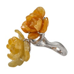 Jade Ring Carved Blossoms Certified Untreated