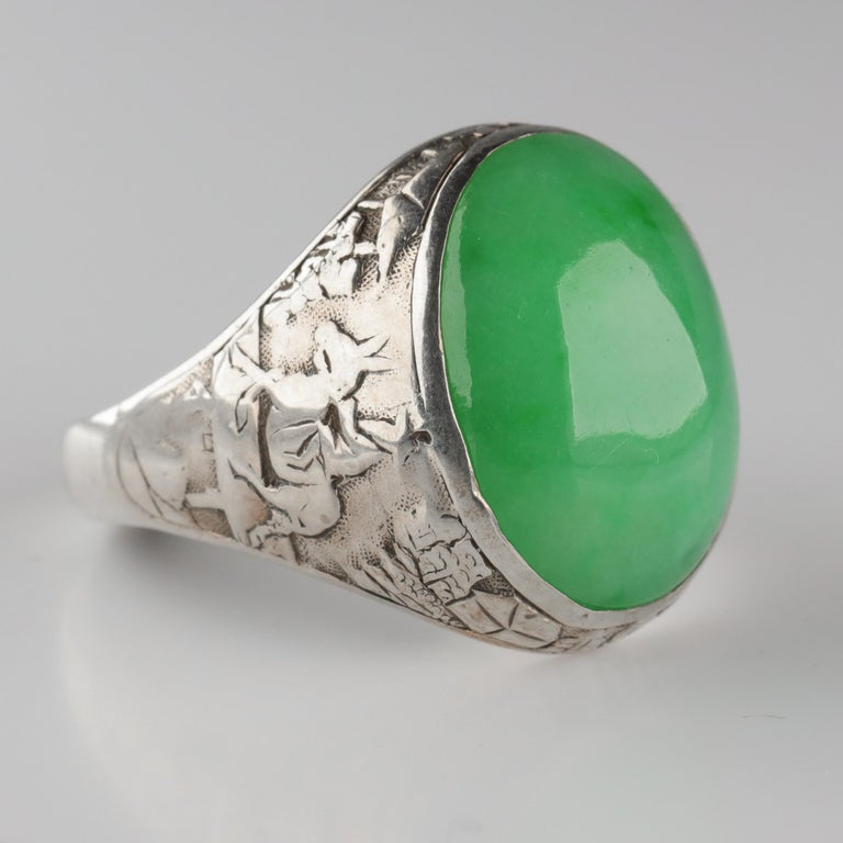 Art Deco Jade Ring Certified Untreated Hand Carved Vignette Setting, circa 1910 For Sale