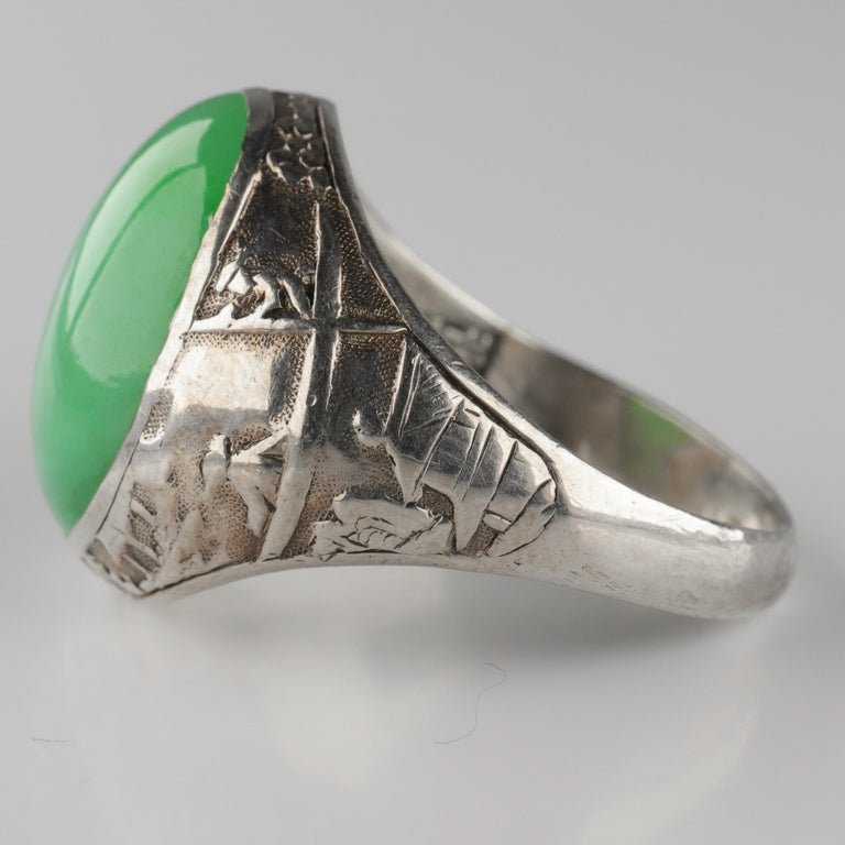Women's or Men's Jade Ring Certified Untreated Hand Carved Vignette Setting, circa 1910 For Sale