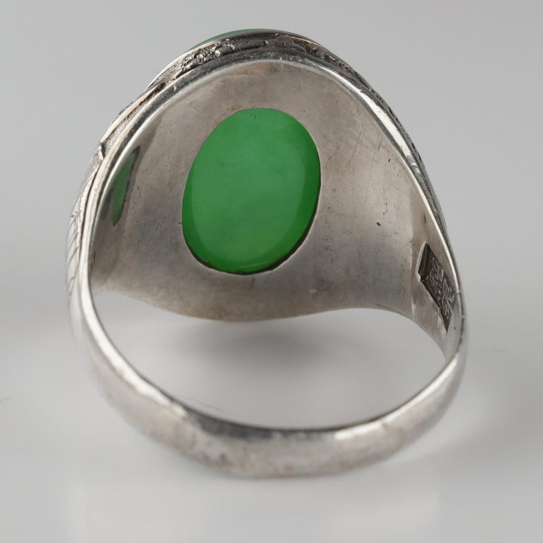 Jade Ring Certified Untreated Hand Carved Vignette Setting, circa 1910 For Sale 1