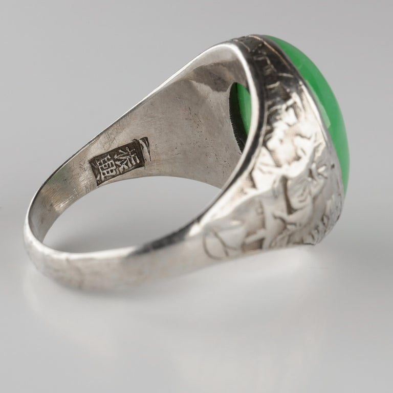 Jade Ring Certified Untreated Hand Carved Vignette Setting, circa 1910 For Sale 4