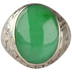 Jade Ring Certified Untreated Hand Carved Vignette Setting, circa 1910