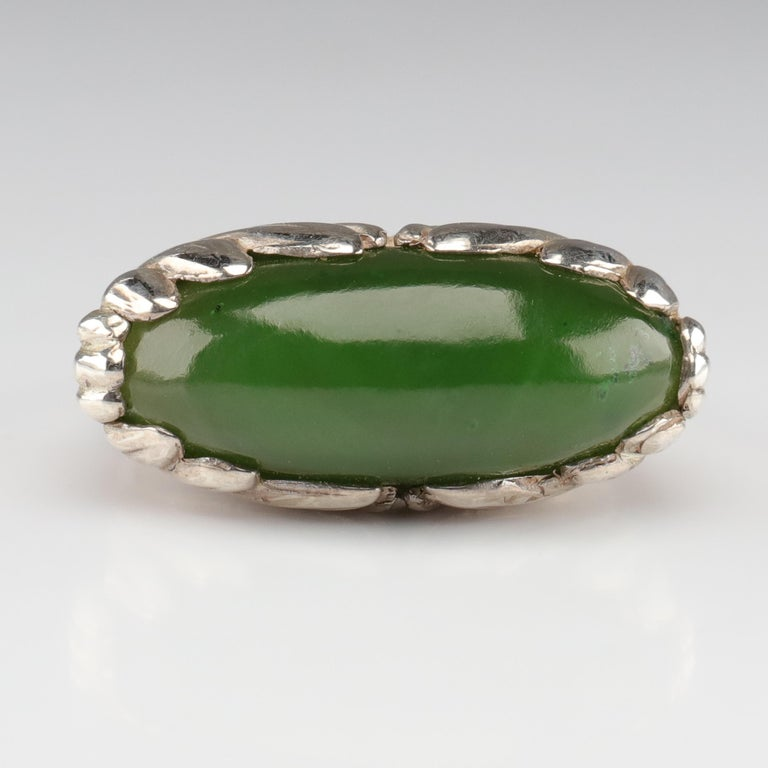 Artisan Jade Ring Contemporary Collaboration Between Lapidary Artist & Silversmith For Sale