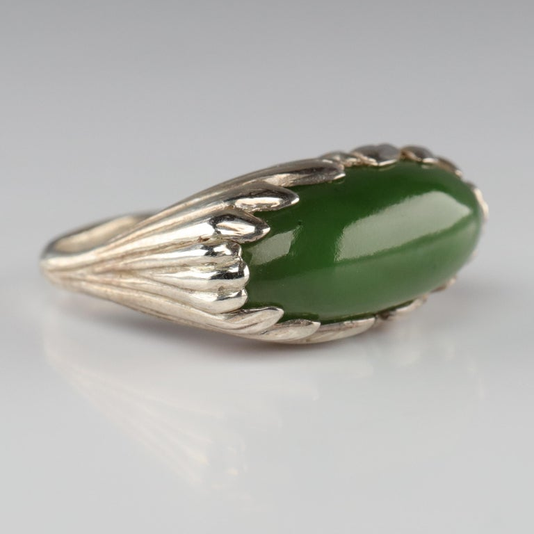 Jade Ring Contemporary Collaboration Between Lapidary Artist & Silversmith In Excellent Condition For Sale In Southbury, CT