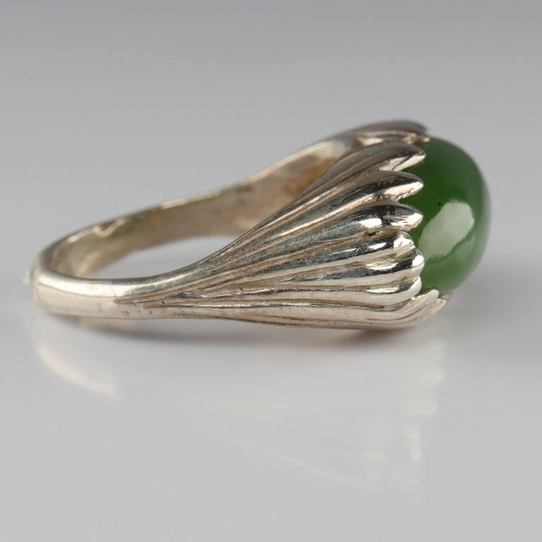 Women's or Men's Jade Ring Contemporary Collaboration Between Lapidary Artist & Silversmith For Sale