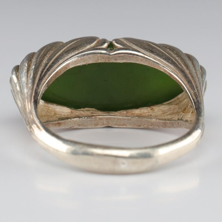Jade Ring Contemporary Collaboration Between Lapidary Artist & Silversmith For Sale 1