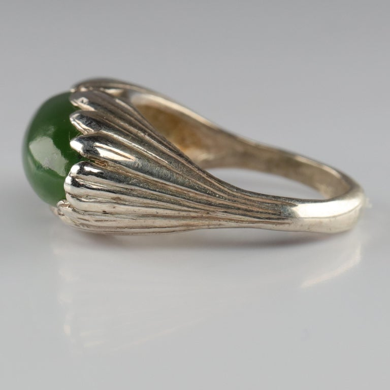 Jade Ring Contemporary Collaboration Between Lapidary Artist & Silversmith For Sale 2