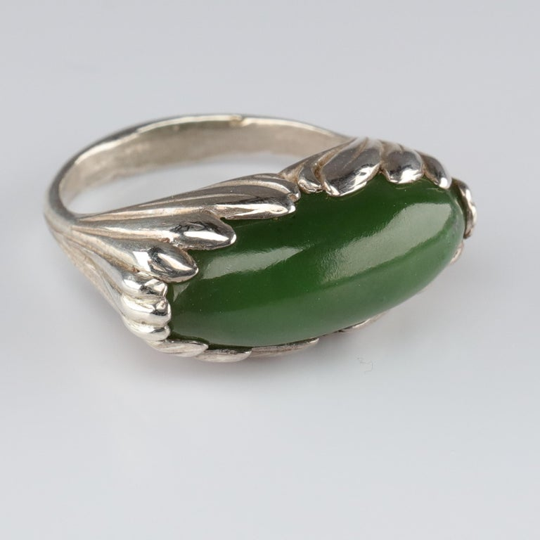 Jade Ring Contemporary Collaboration Between Lapidary Artist & Silversmith For Sale 3