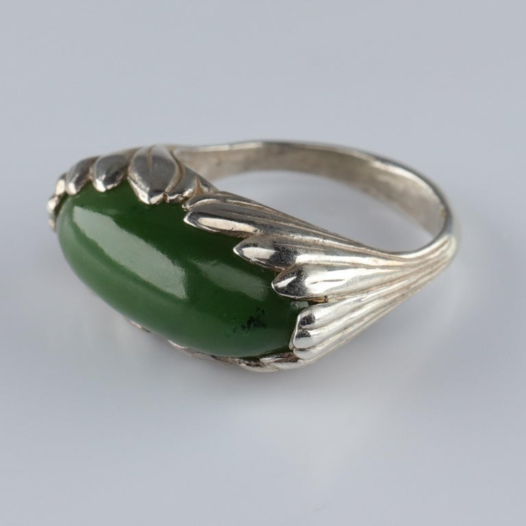Jade Ring Contemporary Collaboration Between Lapidary Artist & Silversmith For Sale 4
