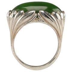 Jade Ring Contemporary Collaboration Between Lapidary Artist & Silversmith