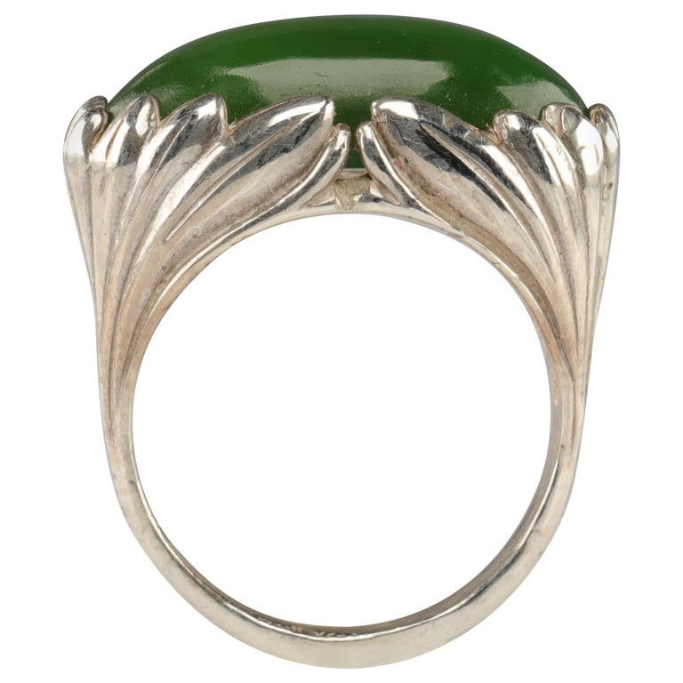 Jade Ring Contemporary Collaboration Between Lapidary Artist & Silversmith For Sale