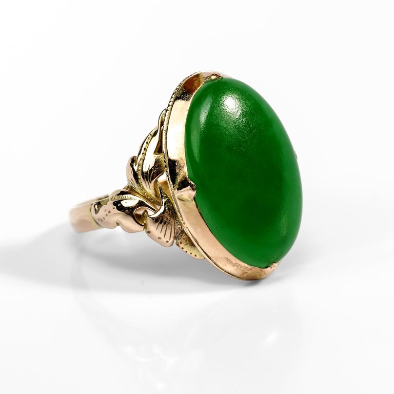 Cabochon Jade Ring Emerald Green Art Nouveau Certified Untreated For Sale