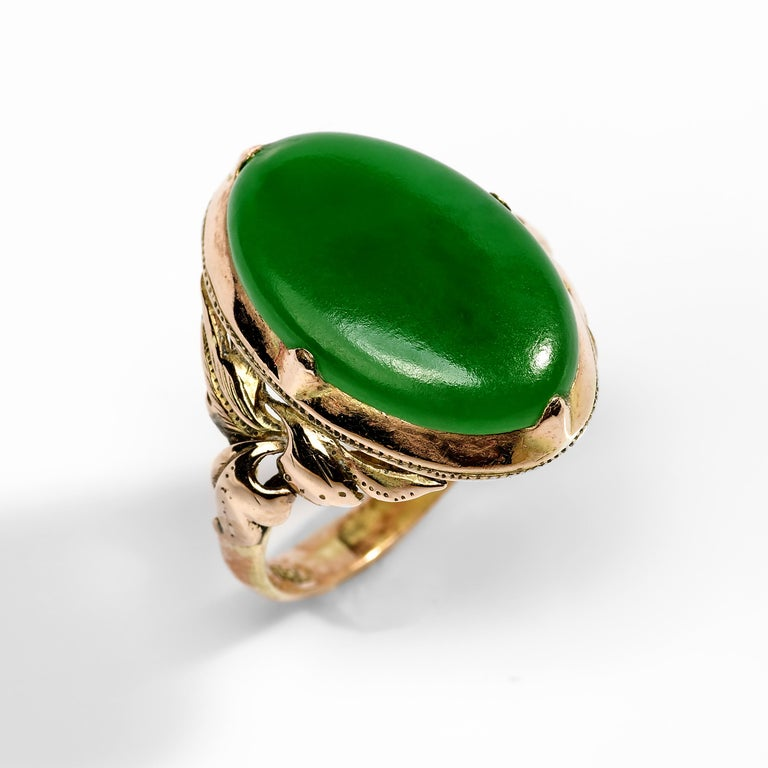 Jade Ring Emerald Green Art Nouveau Certified Untreated In Excellent Condition For Sale In Southbury, CT