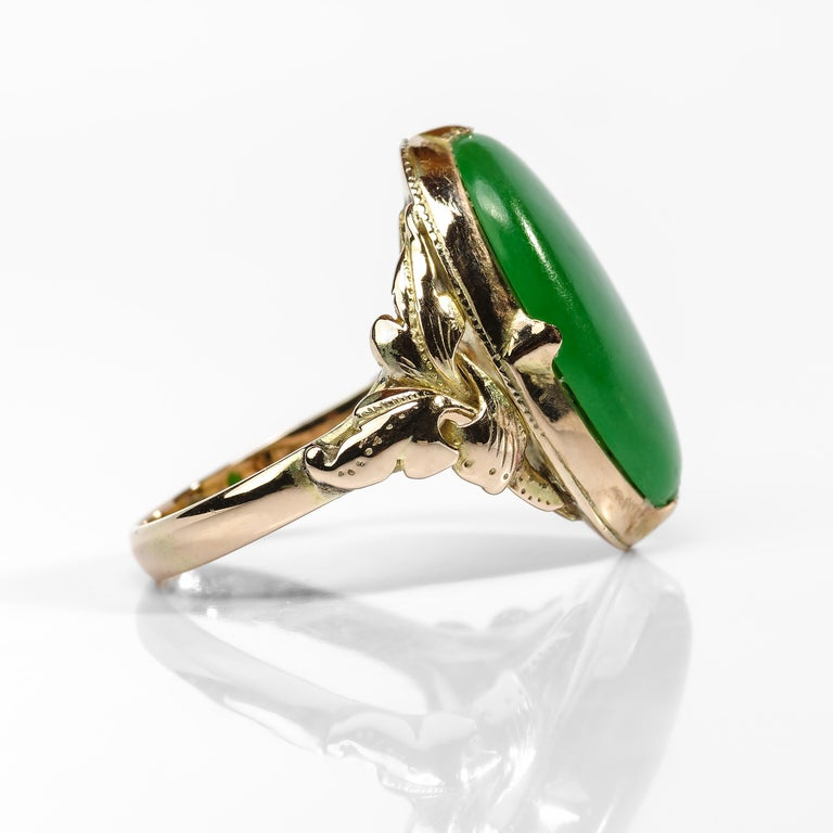 Women's or Men's Jade Ring Emerald Green Art Nouveau Certified Untreated For Sale