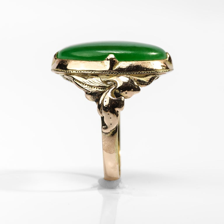 Jade Ring Emerald Green Art Nouveau Certified Untreated For Sale 1