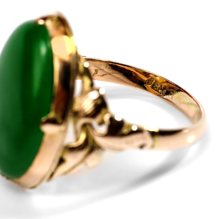 Jade Ring Emerald Green Art Nouveau Certified Untreated For Sale 2