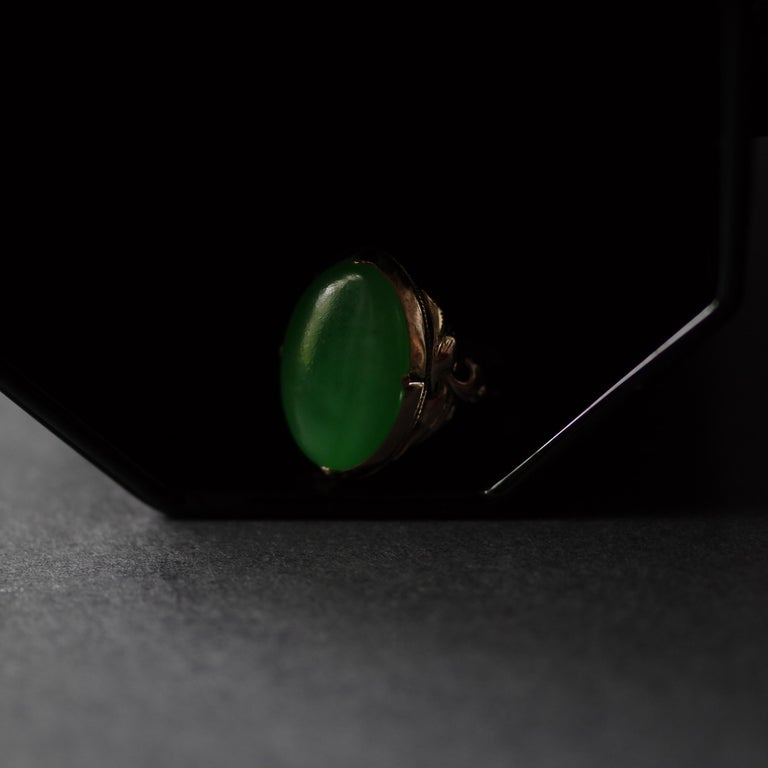 Jade Ring Emerald Green Art Nouveau Certified Untreated For Sale 3