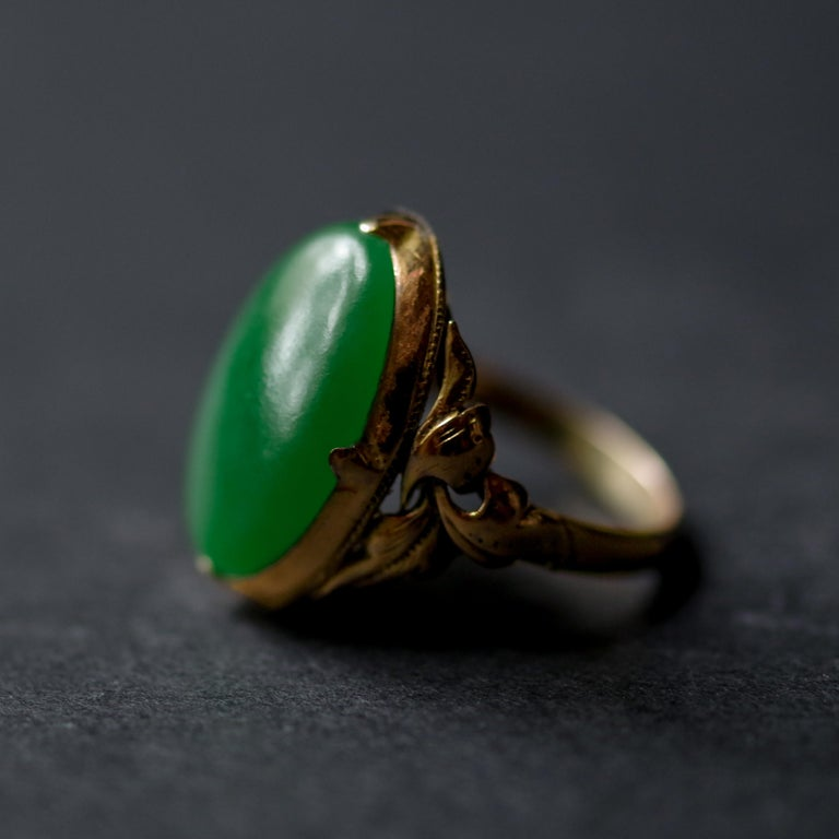 Jade Ring Emerald Green Art Nouveau Certified Untreated For Sale 4
