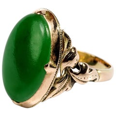 Jade Ring Emerald Green Art Nouveau Certified Untreated
