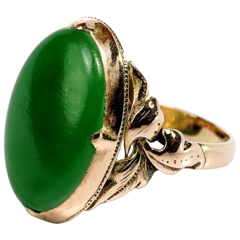 Jade Ring Emerald Green Art Nouveau Certified Untreated For Sale