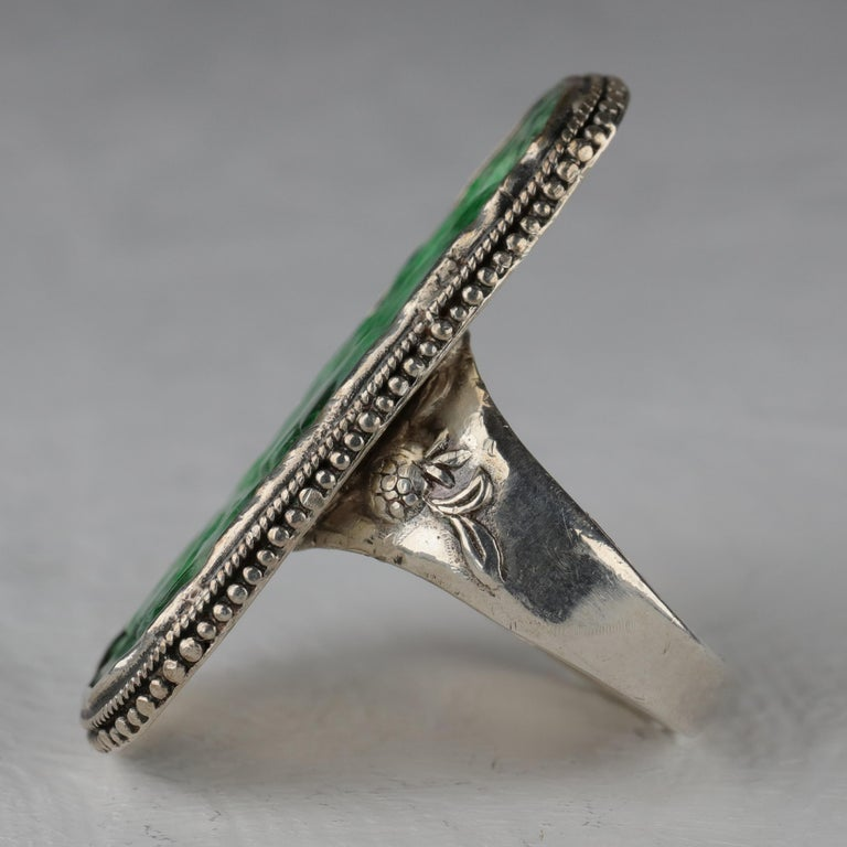 Women's or Men's Jade Ring from Arts & Crafts Period For Sale