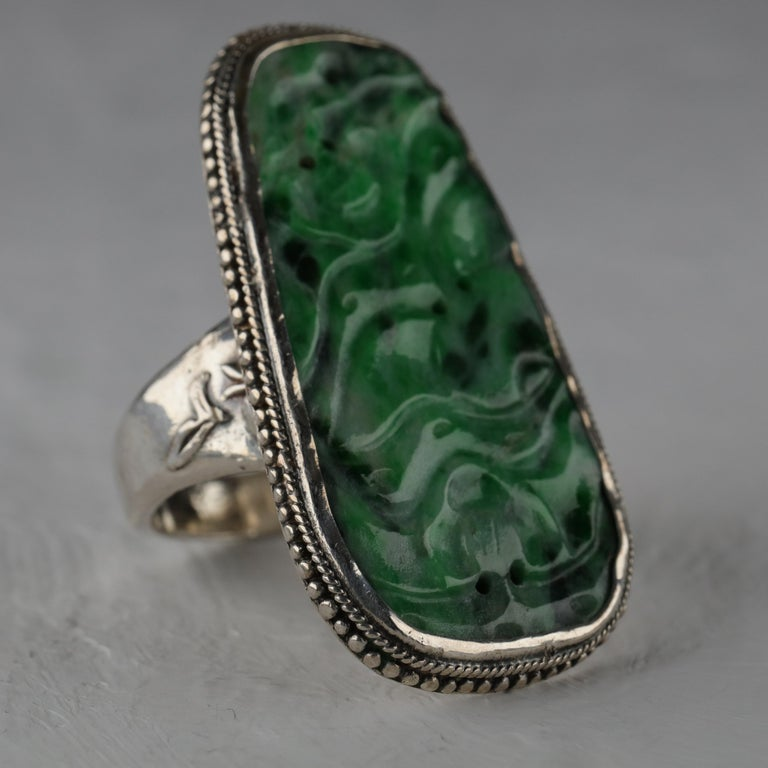 Jade Ring from Arts & Crafts Period For Sale 1