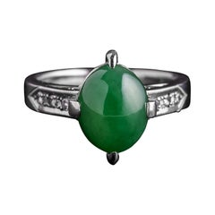 Jade Ring in Platinum with Diamonds GIA Certified Untreated Midcentury