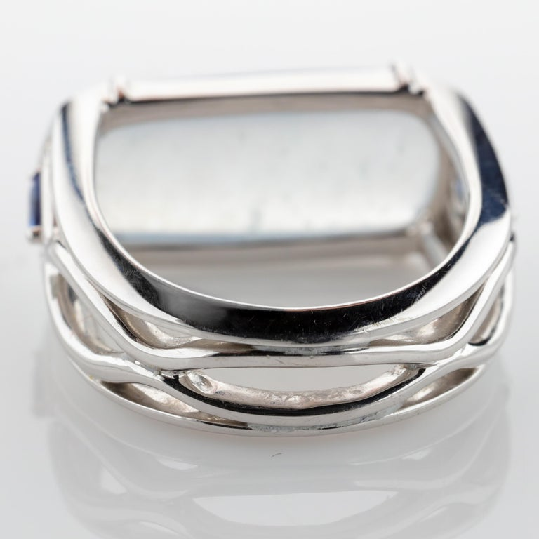 Jade Ring in White Gold with Sapphires is Nearly Colorless and Semi-Transparent For Sale 5