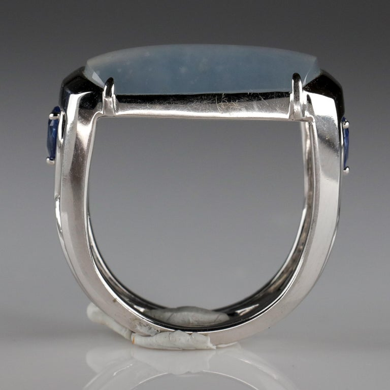 Jade Ring in White Gold with Sapphires is Nearly Colorless and Semi-Transparent For Sale 6