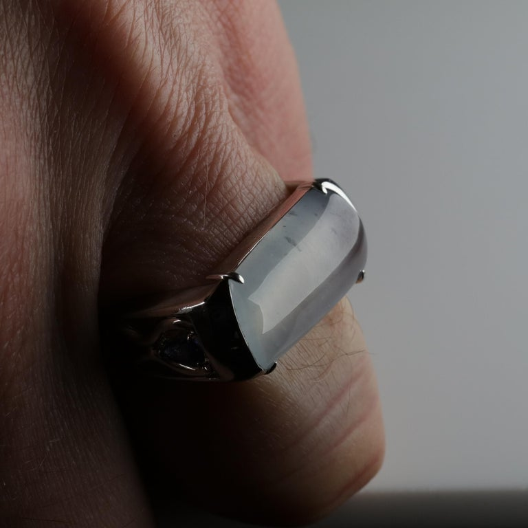 Jade Ring in White Gold with Sapphires is Nearly Colorless and Semi-Transparent For Sale 8