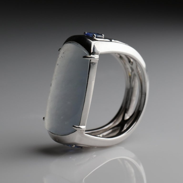 Contemporary Jade Ring in White Gold with Sapphires is Nearly Colorless and Semi-Transparent For Sale
