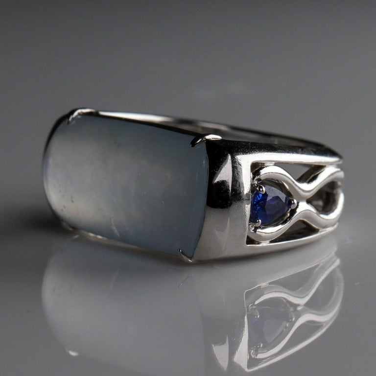 Jade Ring in White Gold with Sapphires is Nearly Colorless and Semi-Transparent In Excellent Condition For Sale In Southbury, CT