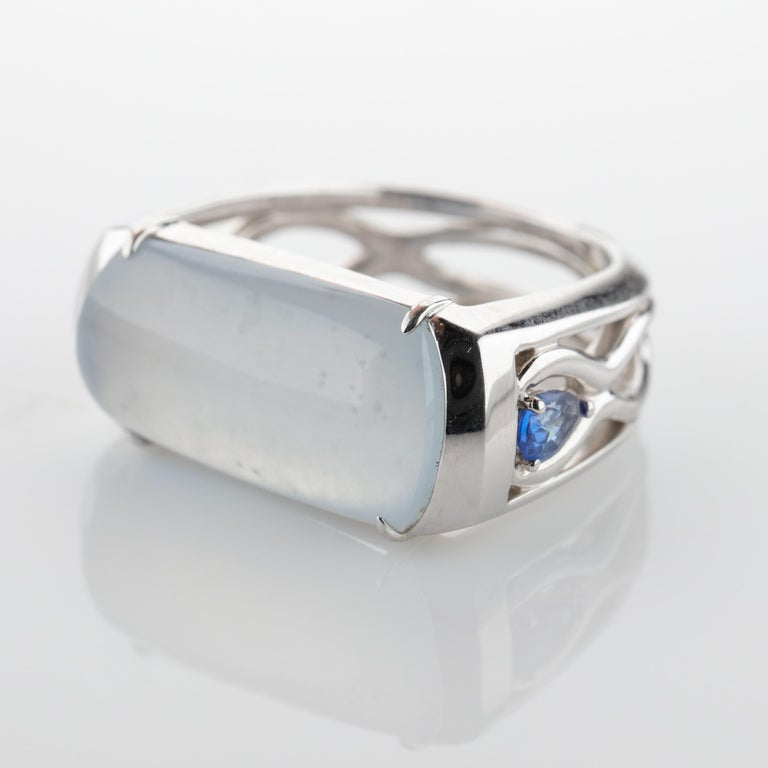 Women's or Men's Jade Ring in White Gold with Sapphires is Nearly Colorless and Semi-Transparent For Sale