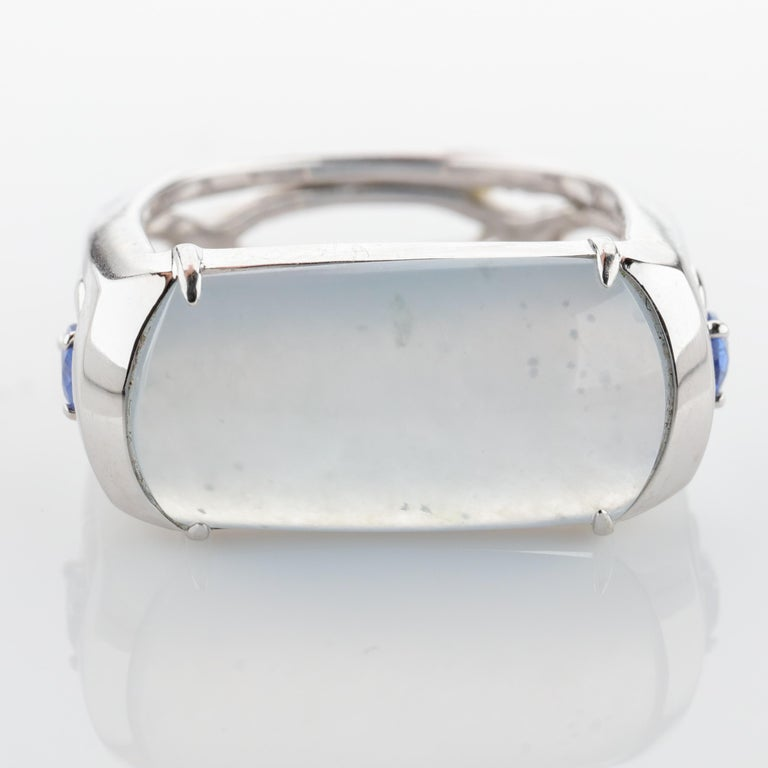 Jade Ring in White Gold with Sapphires is Nearly Colorless and Semi-Transparent For Sale 1