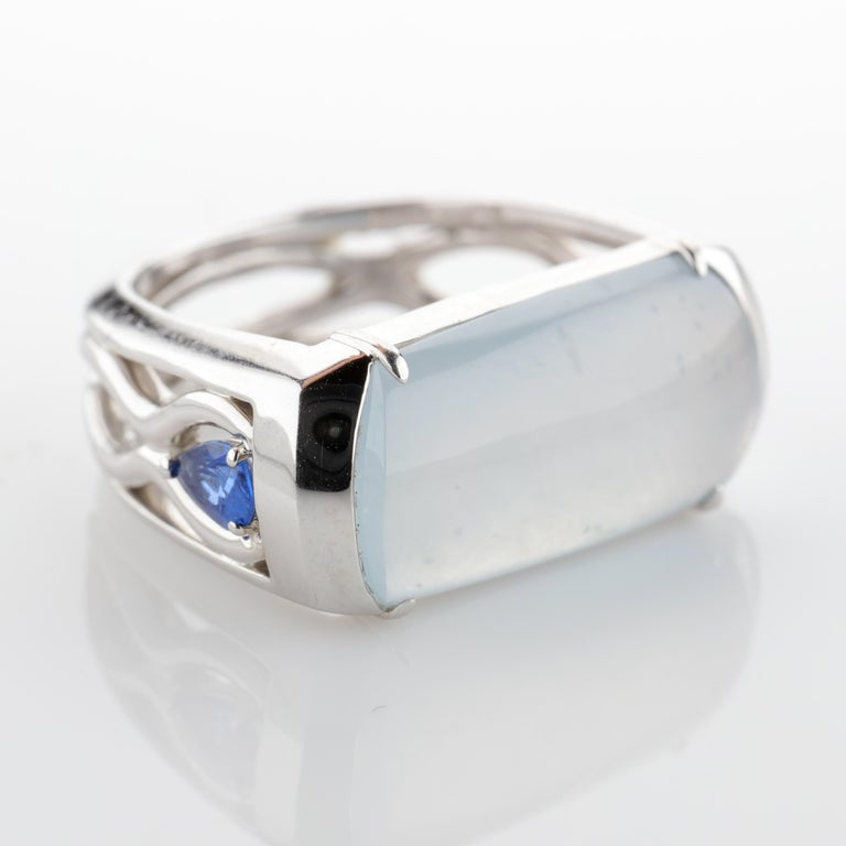 Jade Ring in White Gold with Sapphires is Nearly Colorless and Semi-Transparent For Sale 2