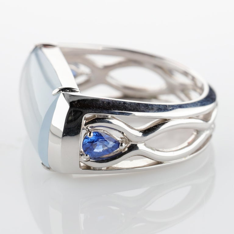 Jade Ring in White Gold with Sapphires is Nearly Colorless and Semi-Transparent For Sale 3