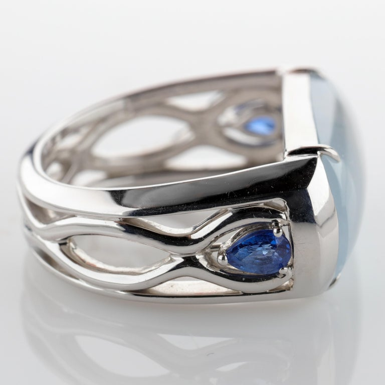 Jade Ring in White Gold with Sapphires is Nearly Colorless and Semi-Transparent For Sale 4