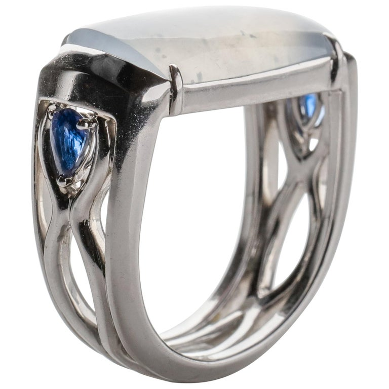 Jade Ring in White Gold with Sapphires is Nearly Colorless and Semi-Transparent For Sale