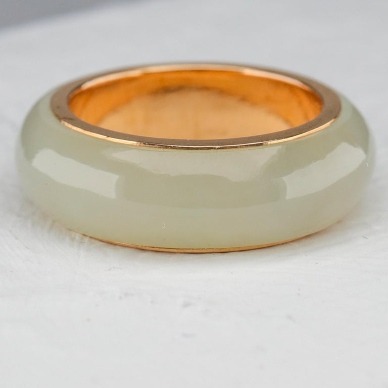 Modern Jade Ring Lined with Gold For Sale