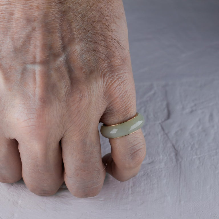 Jade Ring Lined with Gold For Sale 1