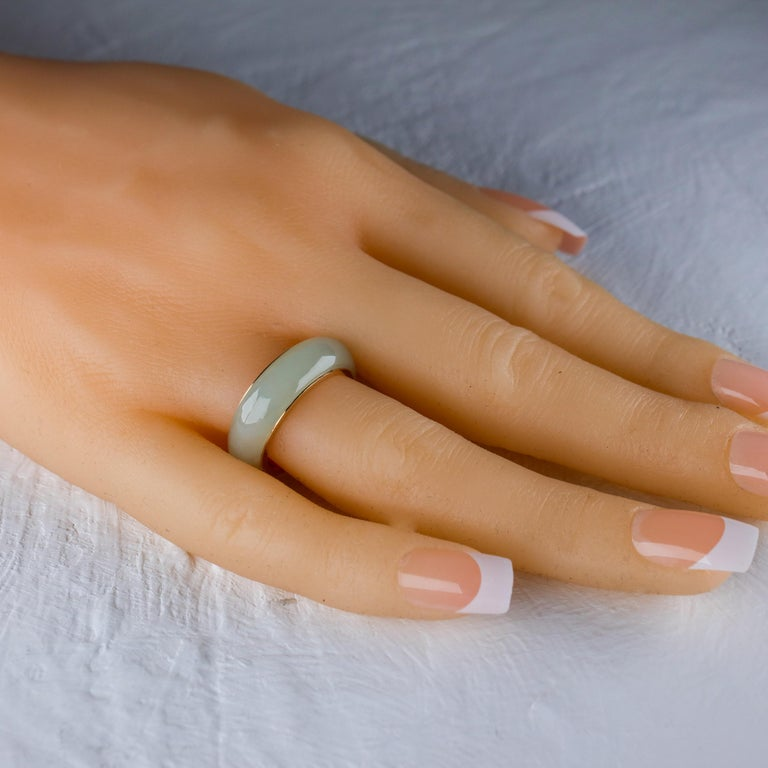 Jade Ring Lined with Gold For Sale 2