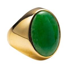 Jade Ring Midcentury 18k Certified Untreated