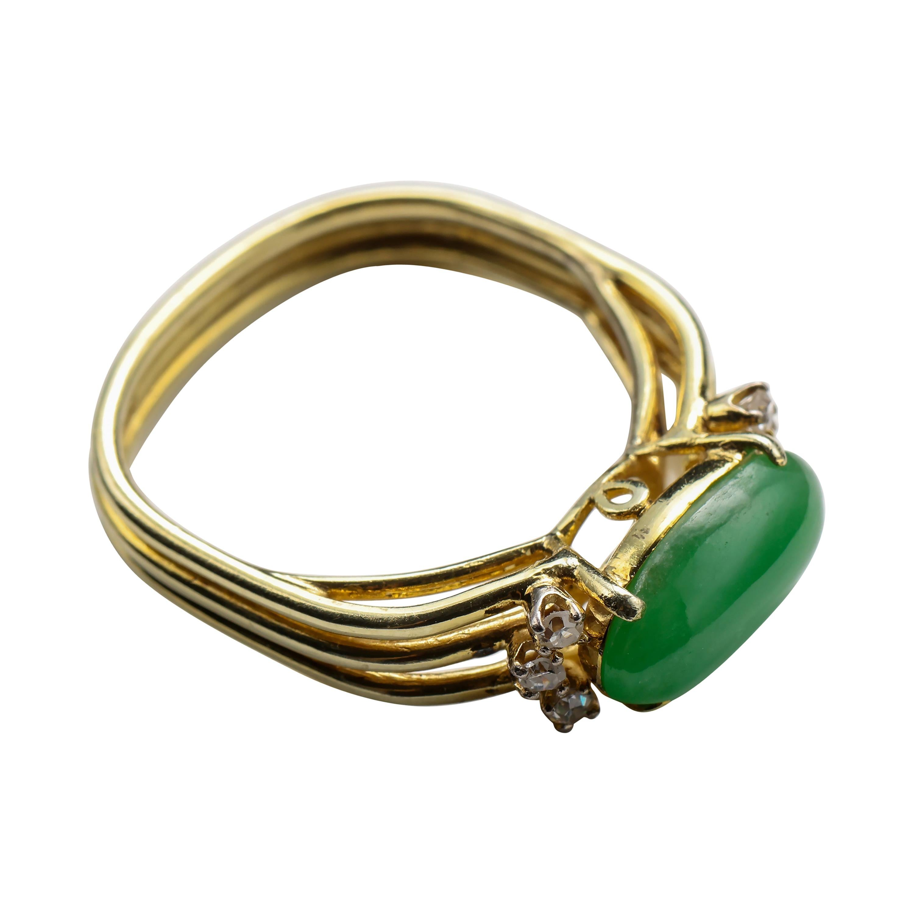 Jade Ring with Diamonds Certified Untreated, Circa 1950s
