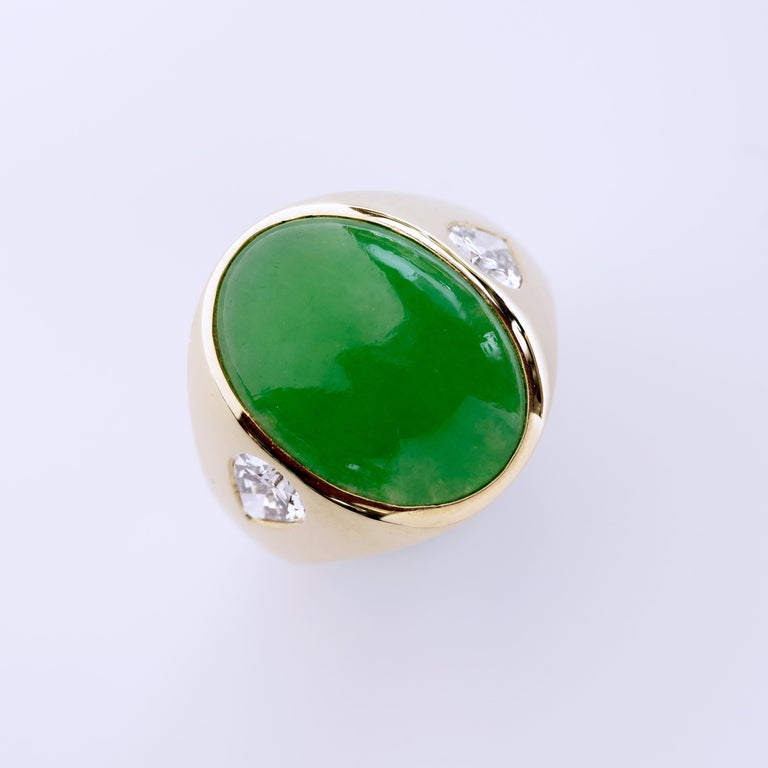 Jade Ring with Diamonds circa 1965 GIA Certified Untreated For Sale 5