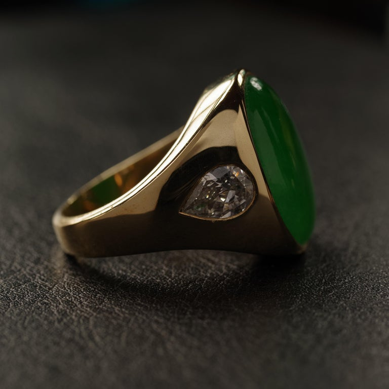 Jade Ring with Diamonds circa 1965 GIA Certified Untreated For Sale 7