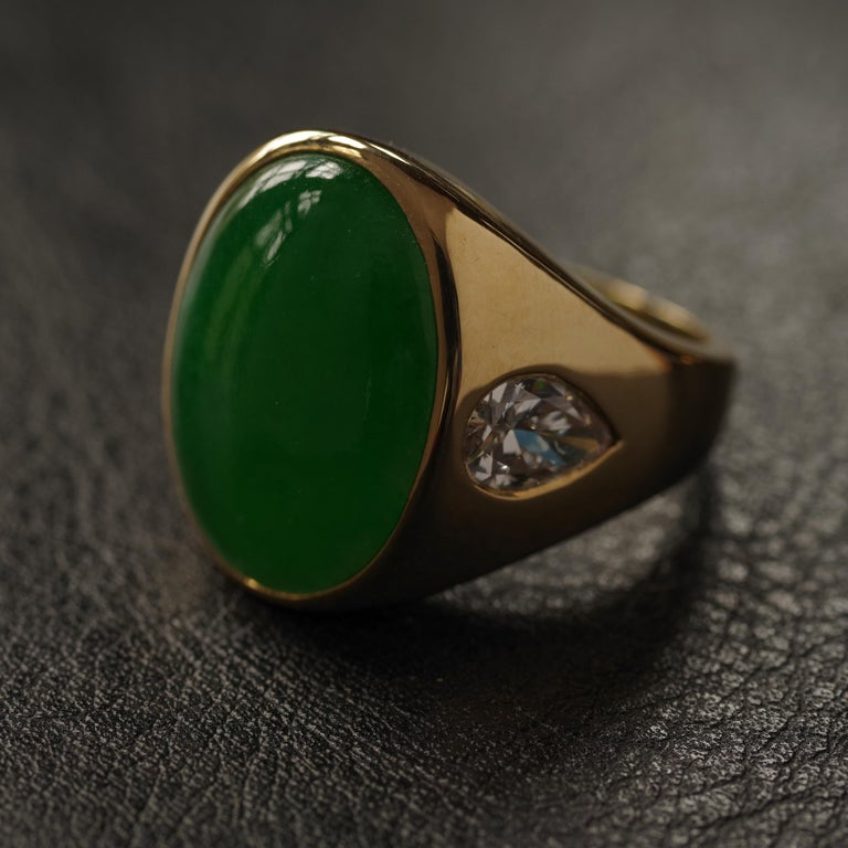 Jade Ring with Diamonds circa 1965 GIA Certified Untreated For Sale 12