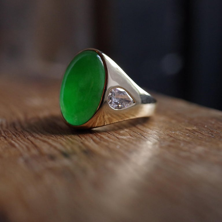 Jade Ring with Diamonds circa 1965 GIA Certified Untreated For Sale 11